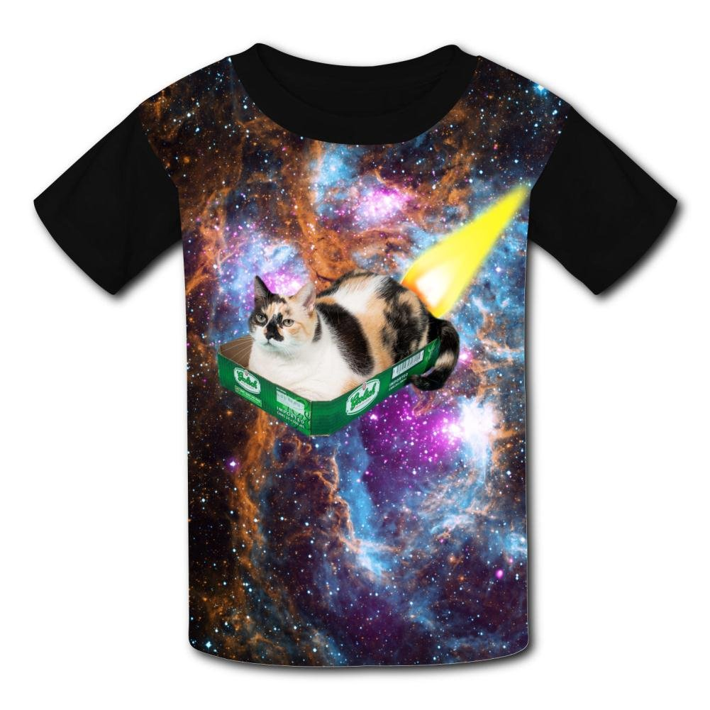 Funny Rocket Tray Cat Casual T-Shirt Short Sleeve for Kids