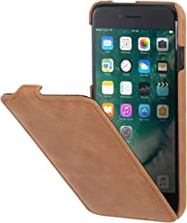 "StilGut UltraSlim Case, custodia verticale in pelle cover per iPhone 7 Plus & iPhone 8 Plus (5,5""). Chiusura clip in alto Flip-Case in vera pelle, Cognac Vintage"