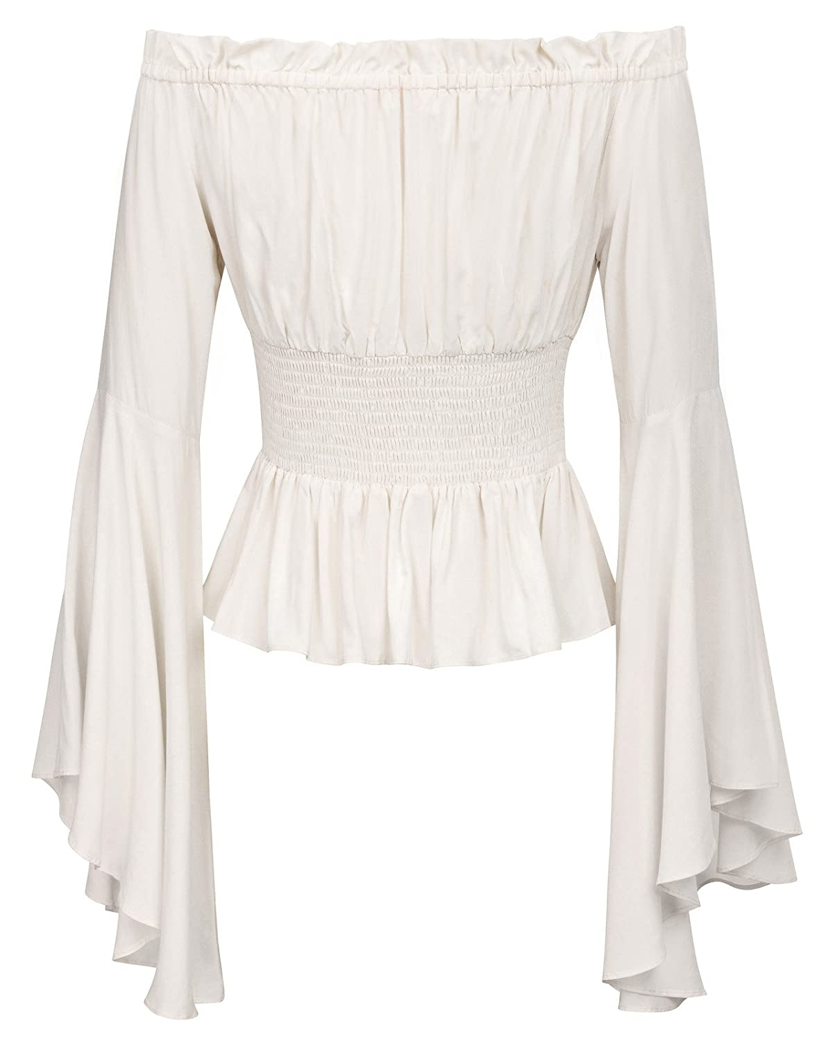 e1f974be59 Women s Full Bell Sleeves Retro Vintage Off Shoulder Tops Ivory Size S   Amazon.co.uk  Clothing
