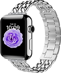 Aowemea Compatible for Apple Watch Series SE 6/5/4/3/2/1 38/40mm 42/44mm,Bling Bling Diamond Cowboy Chain Stainless Steel iWatch Band Wristband Strap Bracelet Women Men (Silver, 42/44mm)
