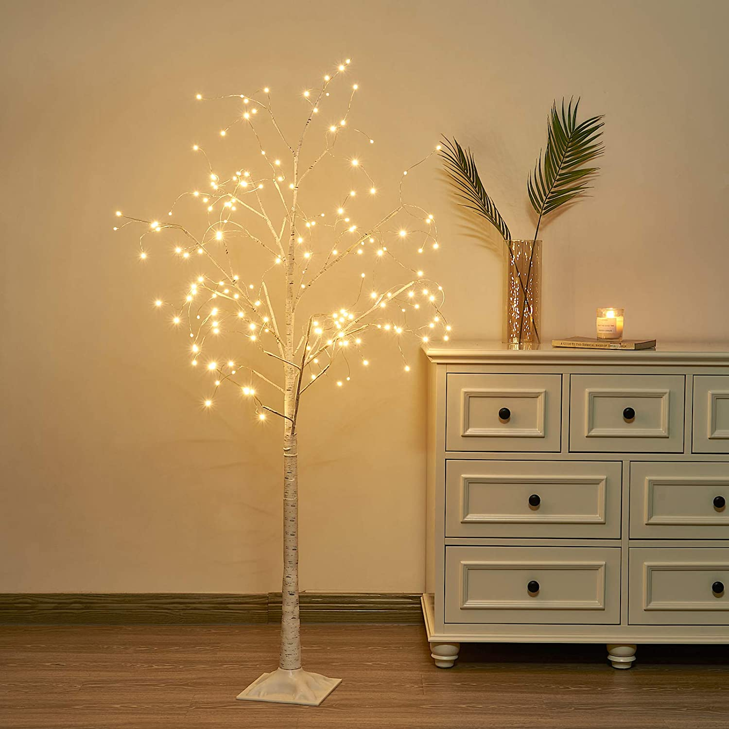 Vanthylit 5FT 168LT White Birch Tree with Fairy Lights Warm White for Indoor and Outdoor Decor