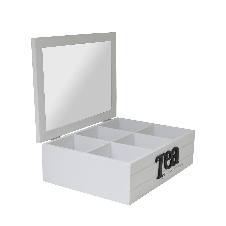 Blanc NEUF en bois 6compartiments Sachet de Thé Boîte de rangement (Us110) Maison Des Cadeaux