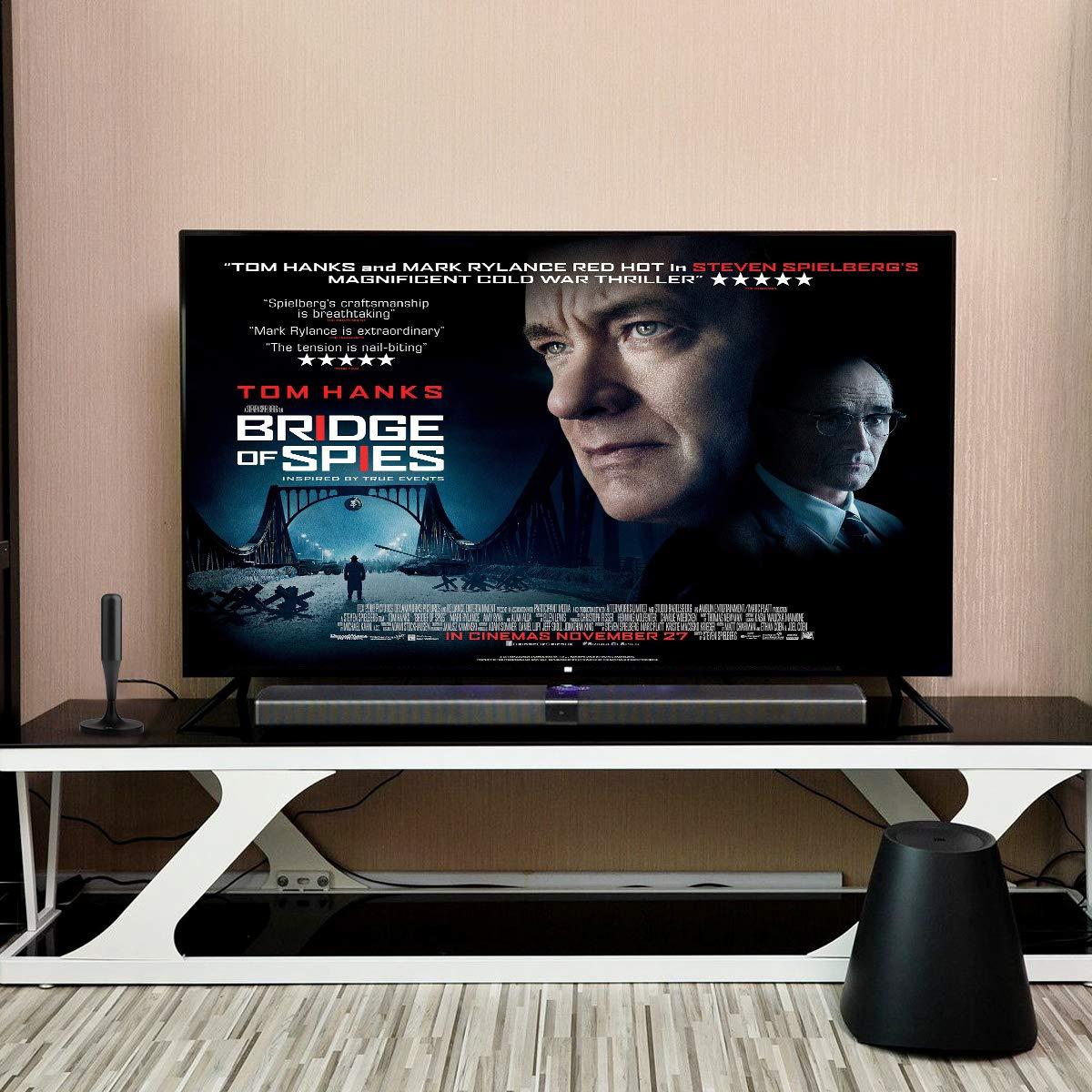 1Byone Mini Antenne Int/érieure TV Tige HDTV HD Num/érique avec Magn/étique A/érien Super R/éception pour Signaux de T/él/évision Analogiques TNT DVB-T et UHF//FM//VHF