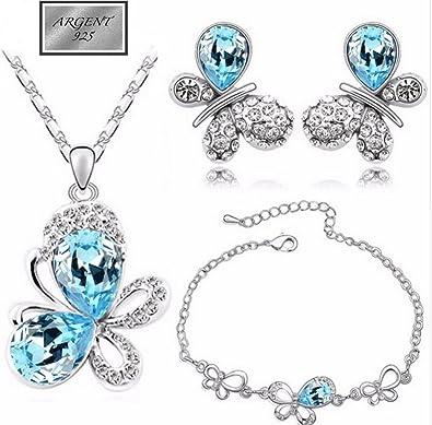 parure bijoux papillon argent