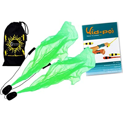 Flames N Games ANGEL POI Set (Green) Practice Poi AKA Scarf Spiral Poi + KID Poi DVD + Travel Bag: Toys & Games