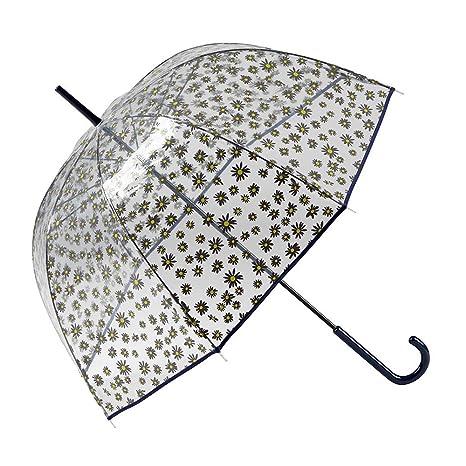 Gotta Parapluie cloche femme transparent - résistant au vent Fleurs grises Paraguas clásico, 91 cm