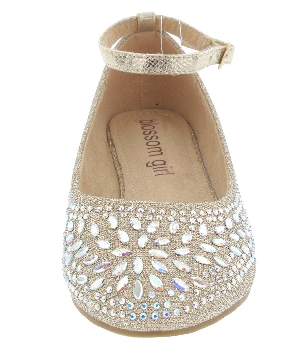 De Blossom Girl Girls Sparkle AB Rhinestone with Adjustable Ankle Strap Dress Flat Harper-II-38