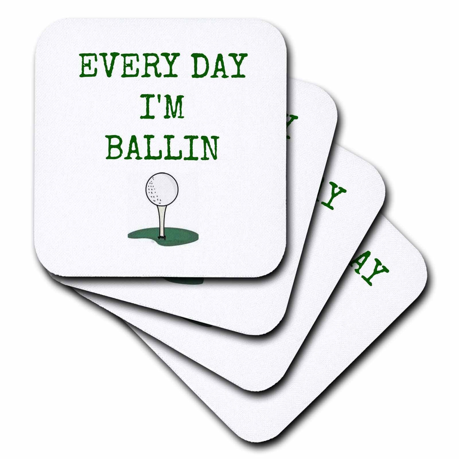 3dRose cst_172353_1 Every Day I'm Ballin, Golf on Tee Picture, Green Lettering Soft Coaster (Set of 4)