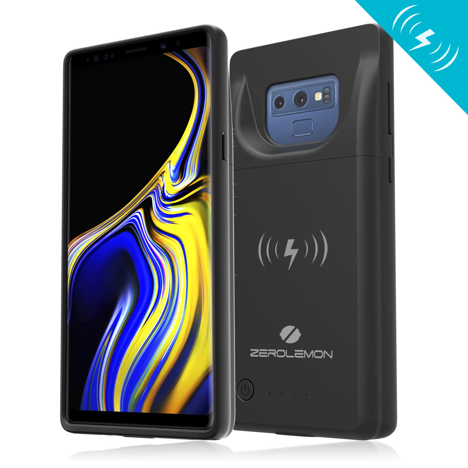 Galaxy Note 9 Extended Battery Case with Qi Wireless Charging, ZeroLemon Slim Power 5000mAh Rechargeable Battery Charger with Full Edge Protection for Galaxy Note 9 - Black by ZEROLEMON