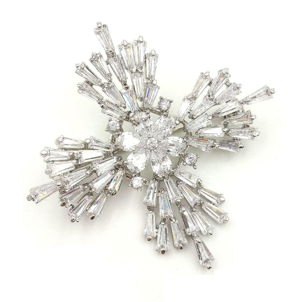 DREAMLANDSALES Old European Stylish Silver Tone Baguette Cut Cross Brooch for Winter Jewerly