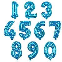 "16"" Blue Number 0-9 Foil Balloons 10pcs Pack, Aluminum Hanging Foil Film (0-9, Blue)"