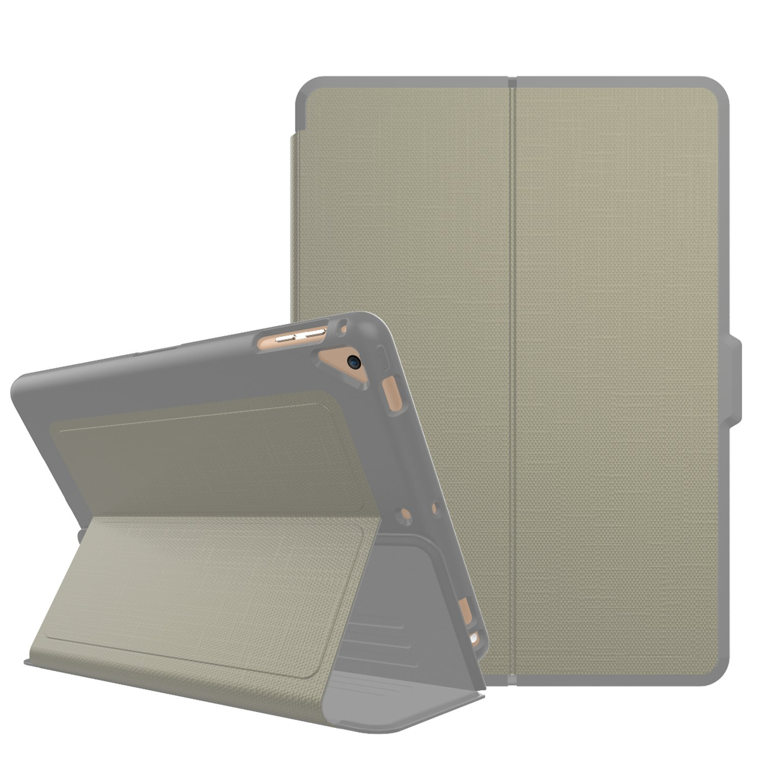Qelus iPad 5th/6th Generation Case, iPad 9.7 2018/2017 Case Leather Hybrid Shockproof Protective Smart iPad Case Cover with Magnetic Stand, Auto Wake/Sleep Case for Apple iPad 2018/2017 (Khaki Grey) by Qelus