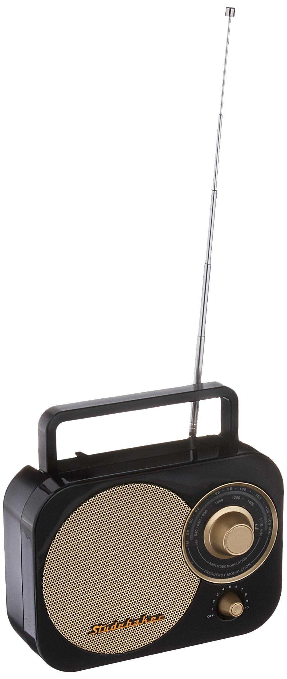 Studebaker 4330975871 Black Retro  SB2000 Replica Portable AM/FM Radio with Aux Input