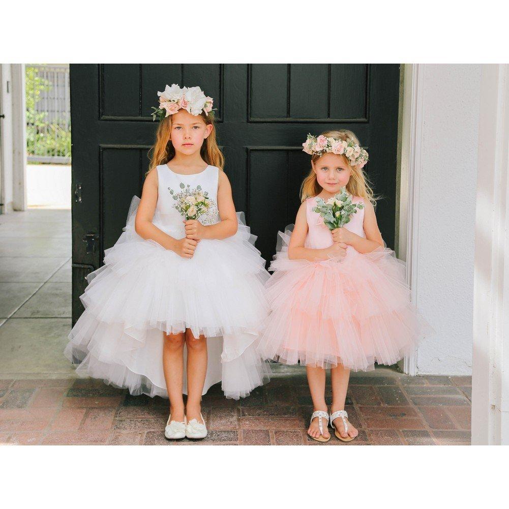 b4e9207baf Amazon.com  Tip Top Kids Baby Girls Champagne Satin Tutu Hi-Low Tape Sash Flower  Girl Dress 6-24M  Clothing