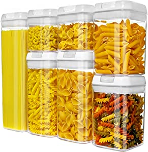 NOLOSHA Airtight Food Storage Containers Set with Easy-Lock Lid, Cereal Container Storage Set of 7 made of BPA-Free Material Ideal for Cereal, Pasta, Spaghetti