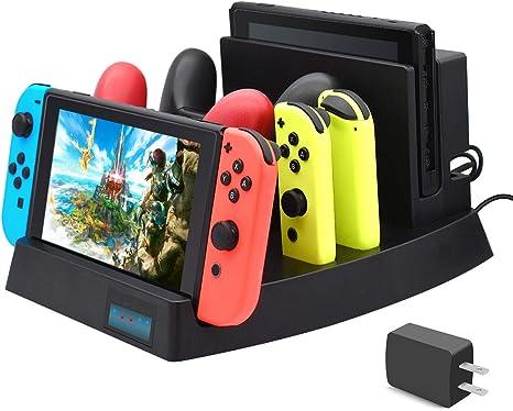 FYOUNG Base de carga para Nintendo Switch, soporte de cargador para Nintendo Switch Console, Switch Pro Controllers y Joy-Cons con 1 cable USB tipo C, 1 cable DC y adaptador de CA: