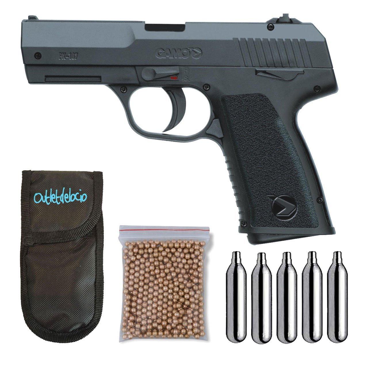 Pistola Perdigón Gamo PX-107 4, 5mm. + Funda Portabombonas + Balines + Bombonas co2. 23054/29318/38123
