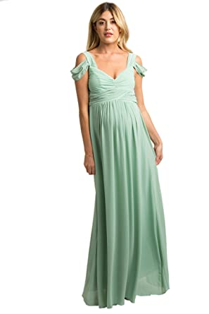 cdaba0c011a PinkBlush Maternity Mint Chiffon Pleated Open Shoulder Maternity Evening  Gown