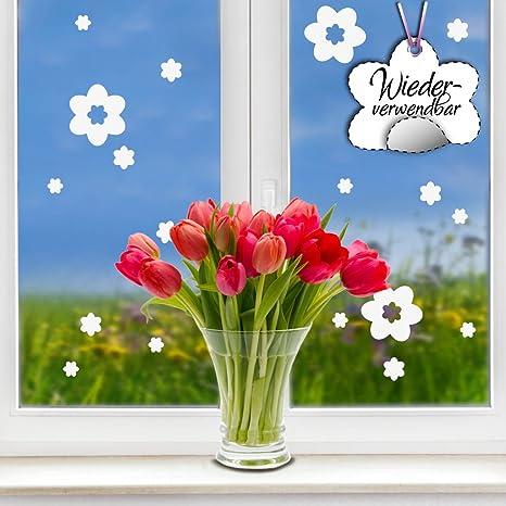 Wandtattoo Loft Fensteraufkleber Frühling Blumen In Der Farbe Weiss Wiederverwendbar 17 Aufkleber Im Set Fensterbilder Ostermotiv Fensterdeko Set Küche Haushalt