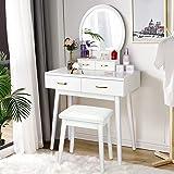 Vanity Desk with Lighted Mirror, Makeup Vanity Dressing Table with Lights, 3 Color Lighting Modes Adjustable Brightness, 4 Dr