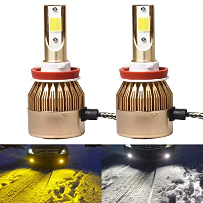 1797 H11 H8 H16(JP) Headlight Fog LED Light Bulbs Amber Yellow 3000K White 6000K Dual Color for Trucks Cars Lamps DRL Lights Kit Replacement 12V 24V 72W 7200LM Super Bright COB Chips 1 Year Warranty: Automotive