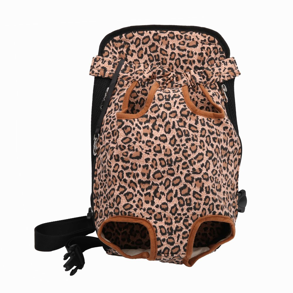 Leopard M Leopard M Lychee Canvas Fabric Pet Dog Cat Backpack Carrier Puppy Pouch Cat Front Bag Back Pack with Legs Out (M, Leopard)
