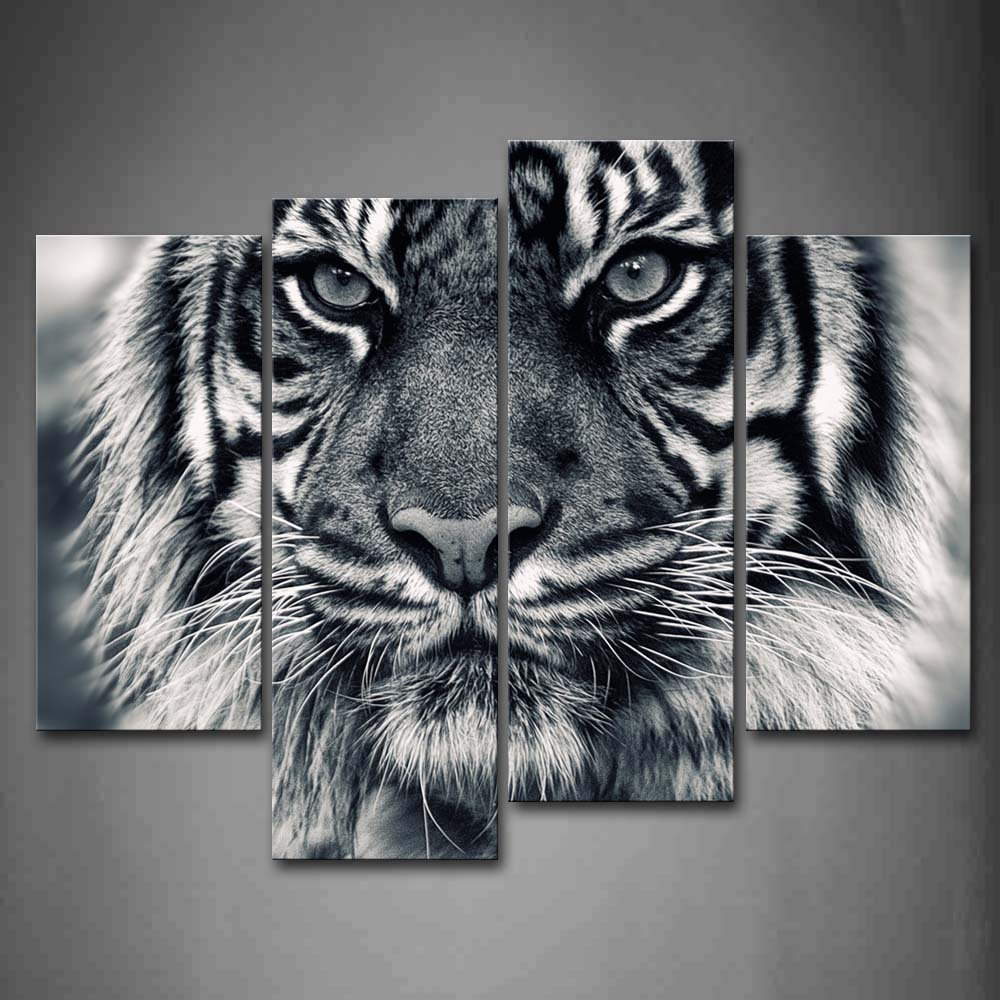 Black And White Ferocity Tiger With Eye Staring And Beard Wall Art Painting Pictures Print On Canvas Animal The Picture For Home Modern Decoration
