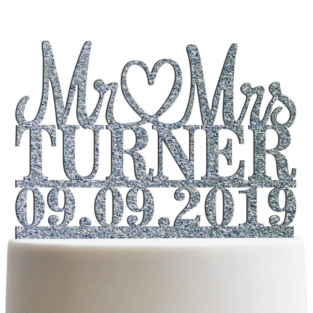 Mr Heart Mrs Customized Wedding Cake Topper Wedding Date Last Name To Be Personalized Wedding Cake Topper | Glitter Cake Toppers by Sugar Yeti (Image #1)