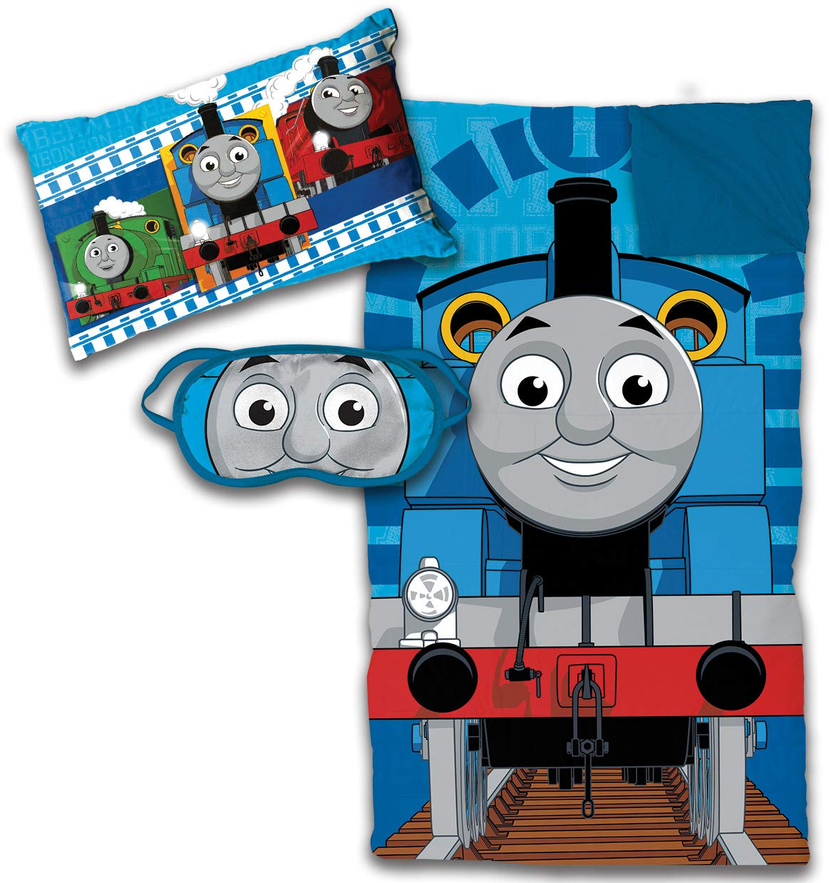 Jay Franco Thomas The Tank Engine 3 Piece Sleepover Set - Cozy & Warm Kids Slumber Bag with Pillow & Eye Mask (Official Nikelodeon Product)