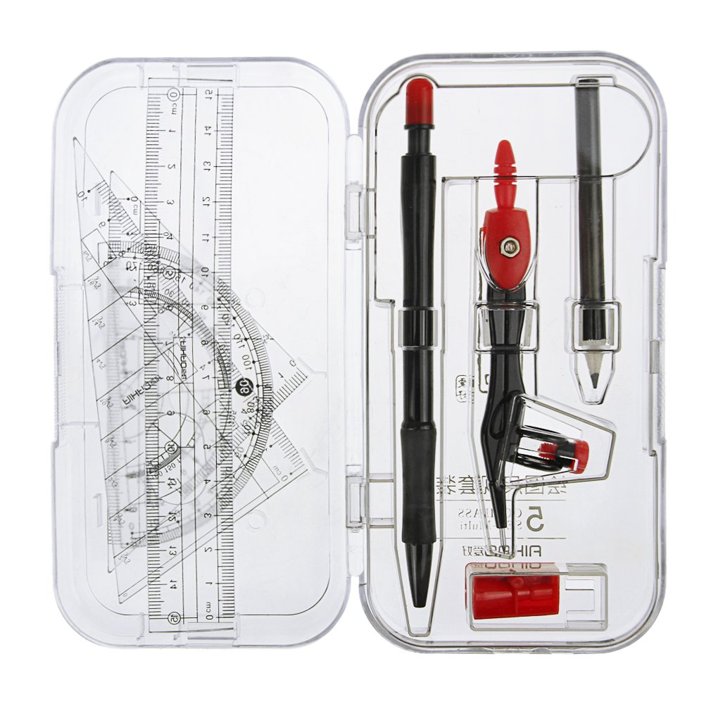 8pcs Geometry Compass Sets w/ Mechanical Pencil,Ruler,Mini Pencil Sharpener,Metal Compass,Professional Geometry Set for Students, Divider, Set Squares, Ruler, Protractor,Back to School Gifts