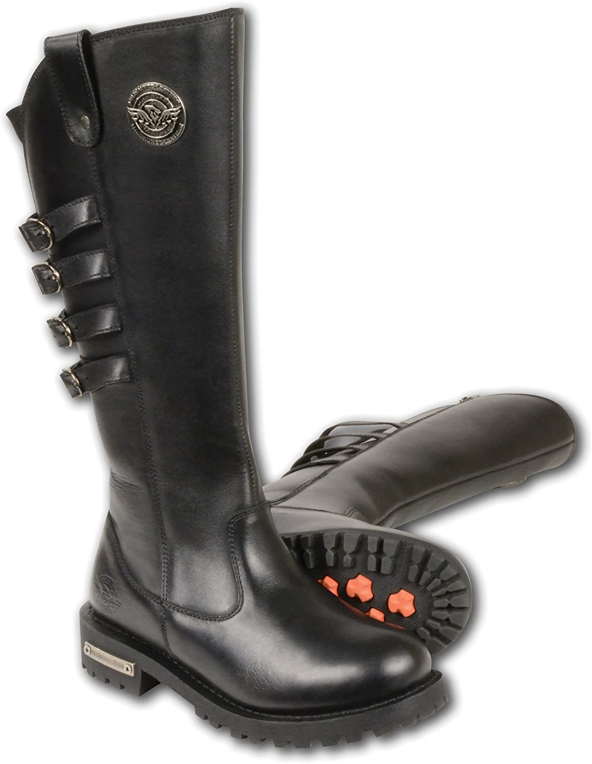 Milwaukee Leather Womens Tall Boots with Buckle Detail Black, Size 10