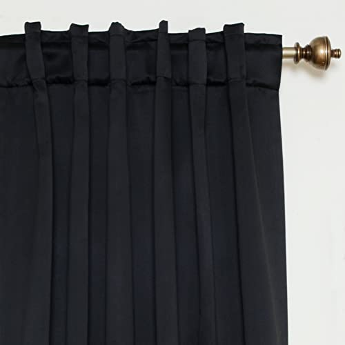 Blackout Curtain Black Rod Pocket Energy Saving Thermal Insulated 120 Inch Length Pair
