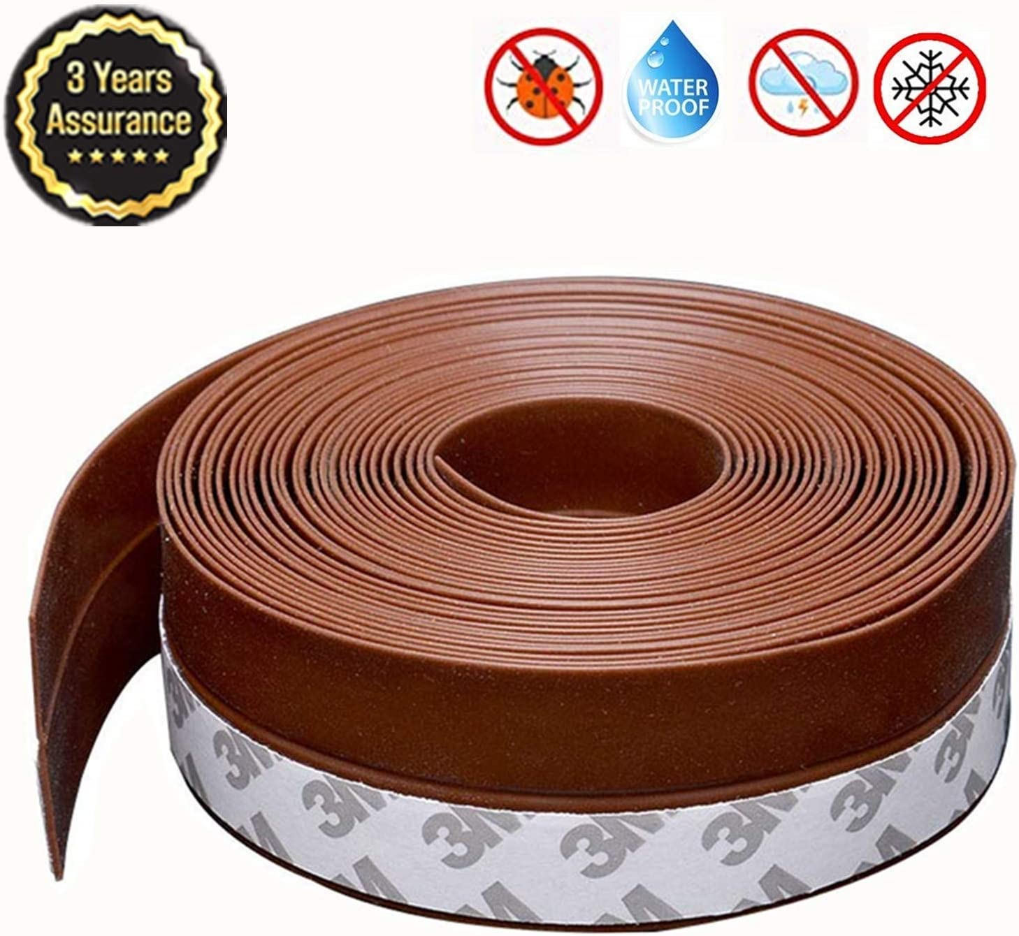 Weather Stripping, Aheadife Door Seal Strip Self Adhesive Silicone Draft Bottom Gap Replacement Strip Roll Soundproof for Door, Window 16.5Ft/26.3Ft(35mm, Brown)