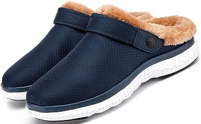 Unisex Hombres Mujeres Zapatillas de Estar Invierno casa Cálido Comodidad Suave Invierno Pantuflas Zuecos Zapatillas Antideslizantes Impermeable