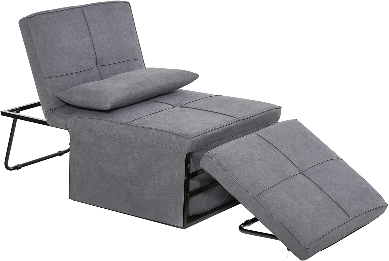 HOMCOM 4 in 1 Multi Function Folding Single Sofa Bed with Ottoman Sleeper Adjustable Backrest Lounger Convertible Upholstered Couch for Living Room Small Space, Grey