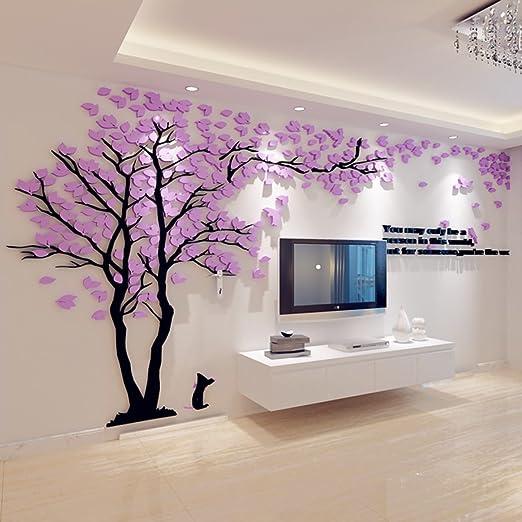 Kreative Baum 3d Dreidimensional Acryl Wandsticker Wohnzimmer Sofa Tv Hintergrund Dekoration Purple 344 180cm Amazon De Kuche Haushalt