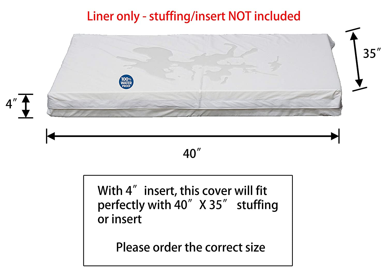 PetBed4Less DIY Durable Dog Bed Dog Pillow Pet Bed External Removable Duvet Case and Internal Waterproof Liner Covers only 8 Sizes