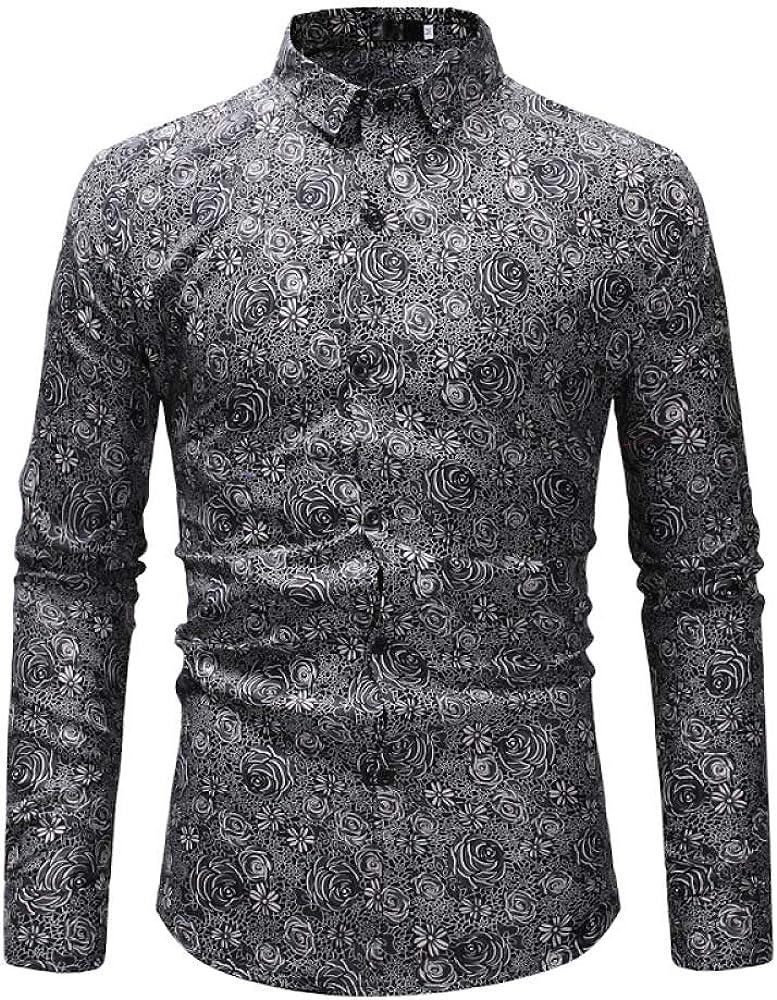 Camisa impresa de los hombres de los nuevos hombres casual de manga larga camisa sin hierro