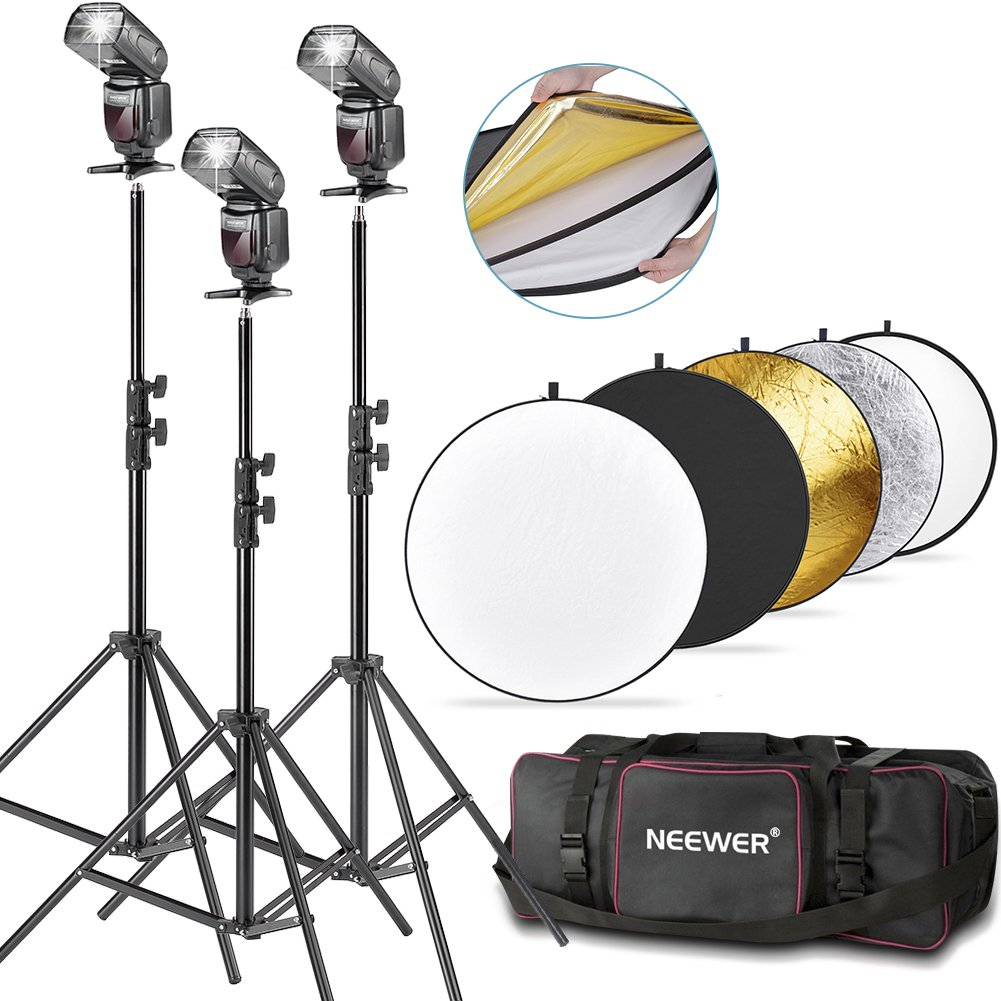 Neewer NW561 Flash Speedlite Kit for Canon Nikon and Other DSLR Camera,include:(3)NW561 Flash+(1)32inch/80cm 5-in-1 Circular Reflector+(3)71inch/180cm Photography Light Stand+(1)Lighting Kit Bag by Neewer