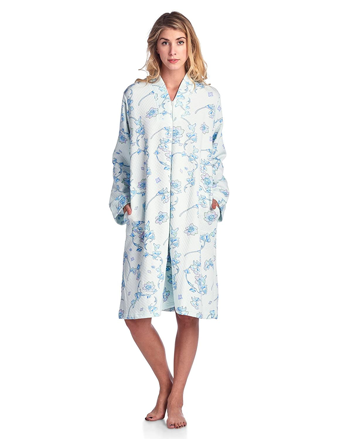 129e08d3e7 Casual Nights Women s Floral Quilted Long Sleeve Zip Up House Dress Robe at  Amazon Women s Clothing store
