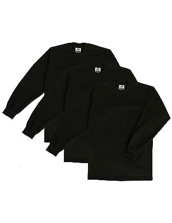 01526503 Pro Club Men's 3-Pack Heavyweight Cotton Long Sleeve Crew Neck T-Shirt,
