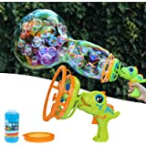 Bubble Machine Bubble Gun Dinosaur Bubble Blower Toy for Kids and Toddlers Bubble in Bubble Machine Maker with 8 oz Bubble So