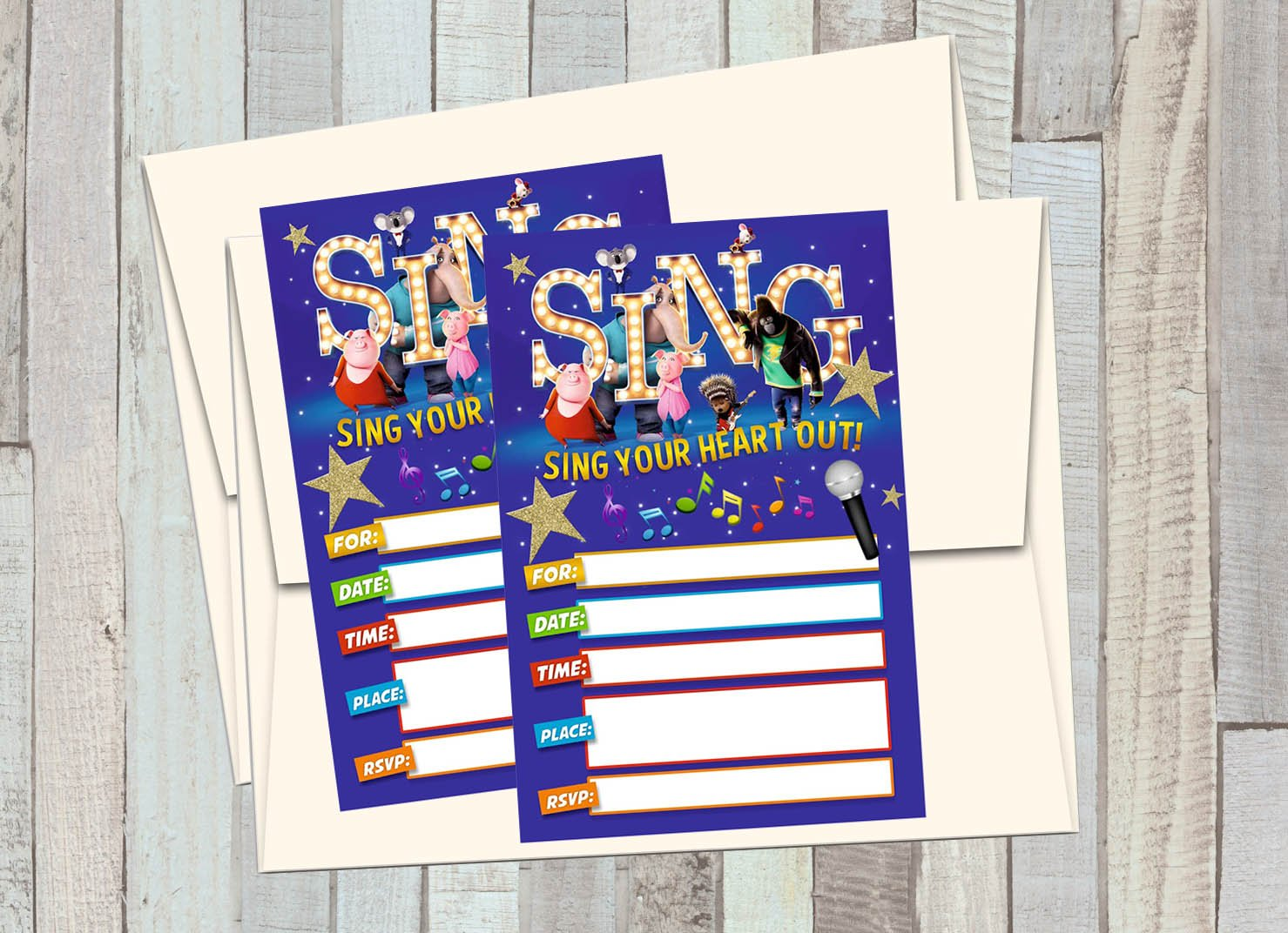 12 S.I.N.G the Movie Birthday Invitations (12 5x7in Cards, 12 matching white envelopes)