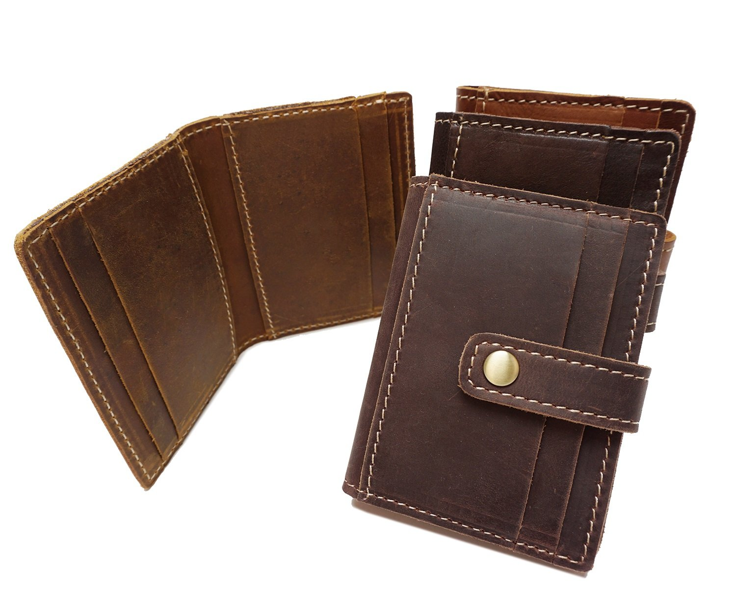 Color : Bronze, Size : S MUMUWU Practical Short-Sleeved Card Package Wave Crazy Horse Leather Multi-Card Card Package Unisex Wallet