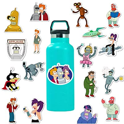 Futurama TV Series Decal Stickers Cartoon Waterproof Philip J. Fry Stickers Car Laptop Helmet Luggage Vintage Skateboard Wall Decor Gift for Kids (Futurama Themed)