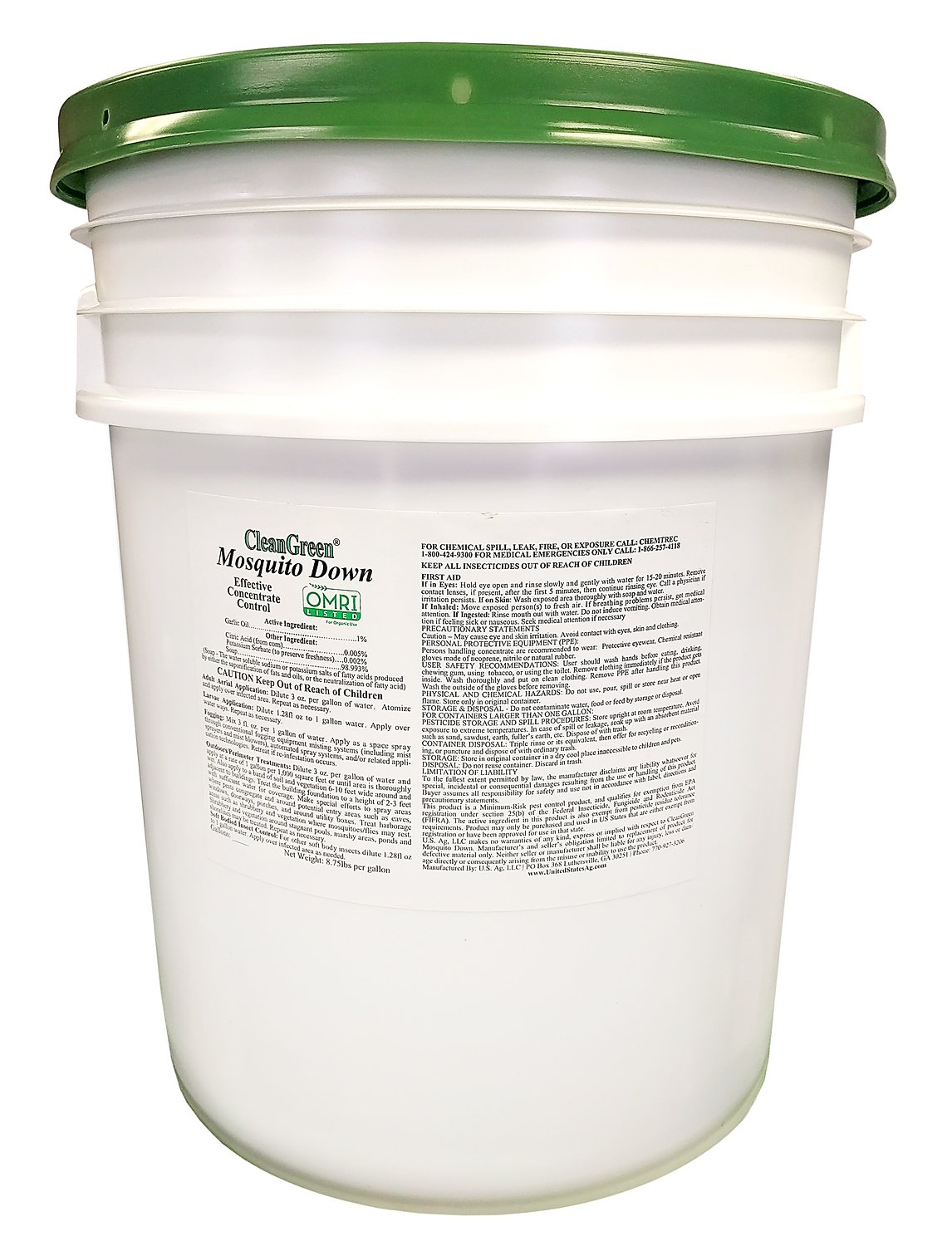 CleanGreen Mosquito Down Pesticide Concentrate Pail, 640 oz/5 gallon