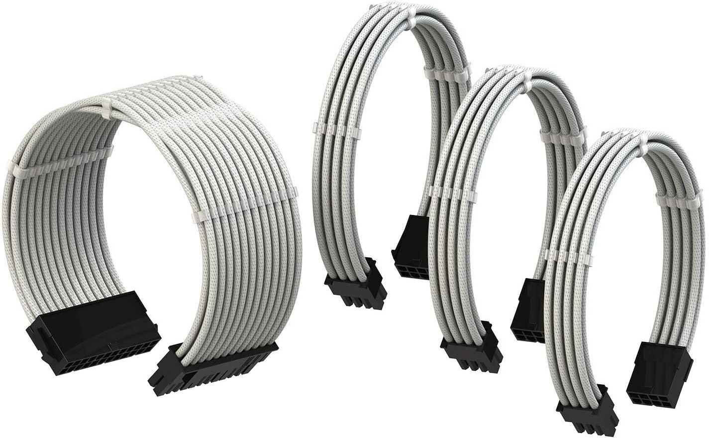 LINKUP PSU Cable Extension Sleeved Custom Mod GPU PC Power Supply Braided w/Comb Kit |1x 24 P (20+4) | 1x 8 P (4+4) CPU | 2X 8 P (6+2) GPU Set | 30CM 300MM - White