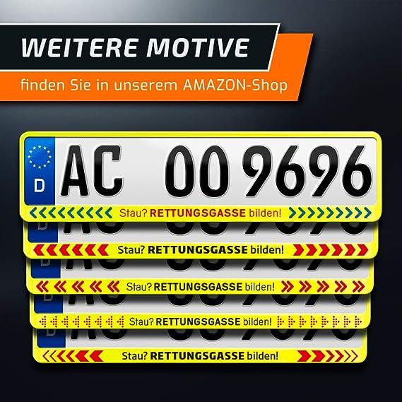 Schildevo 2 Kennzeichenhalter Stau Rettungsgasse Bilden Neon Gelb Nummernschildhalter Kennzeichenrahmen Typ C Dhl Versand Auto