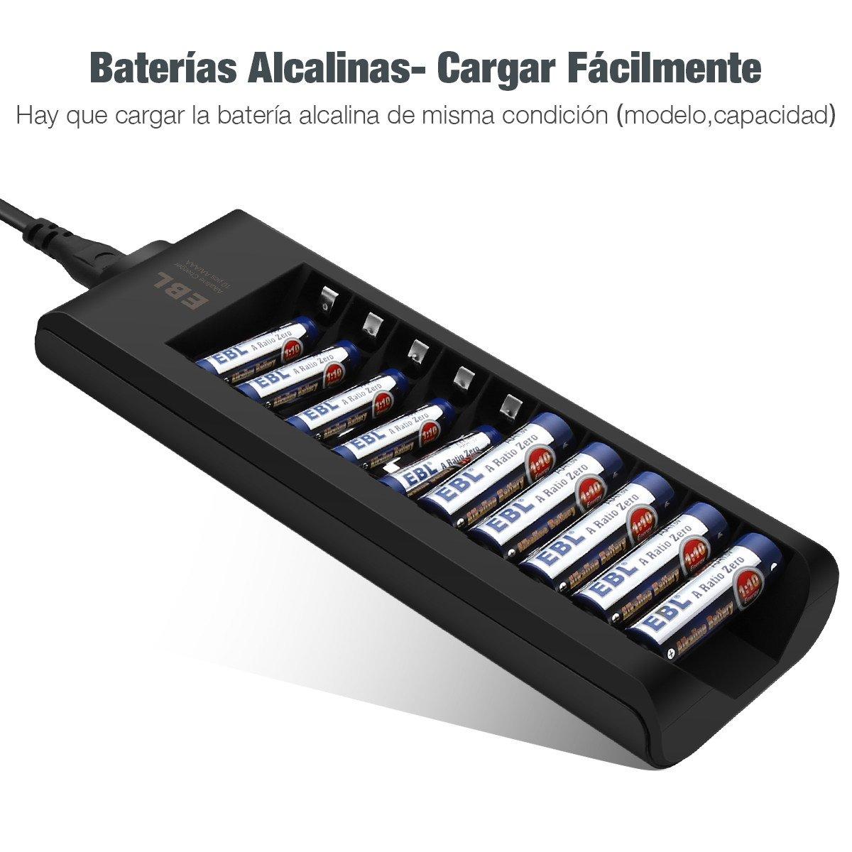 EBL Cargador de Pilas Alcalinas con 10 Ranuras Recargables AA AAA Pilas Alcalinas, Color Negro