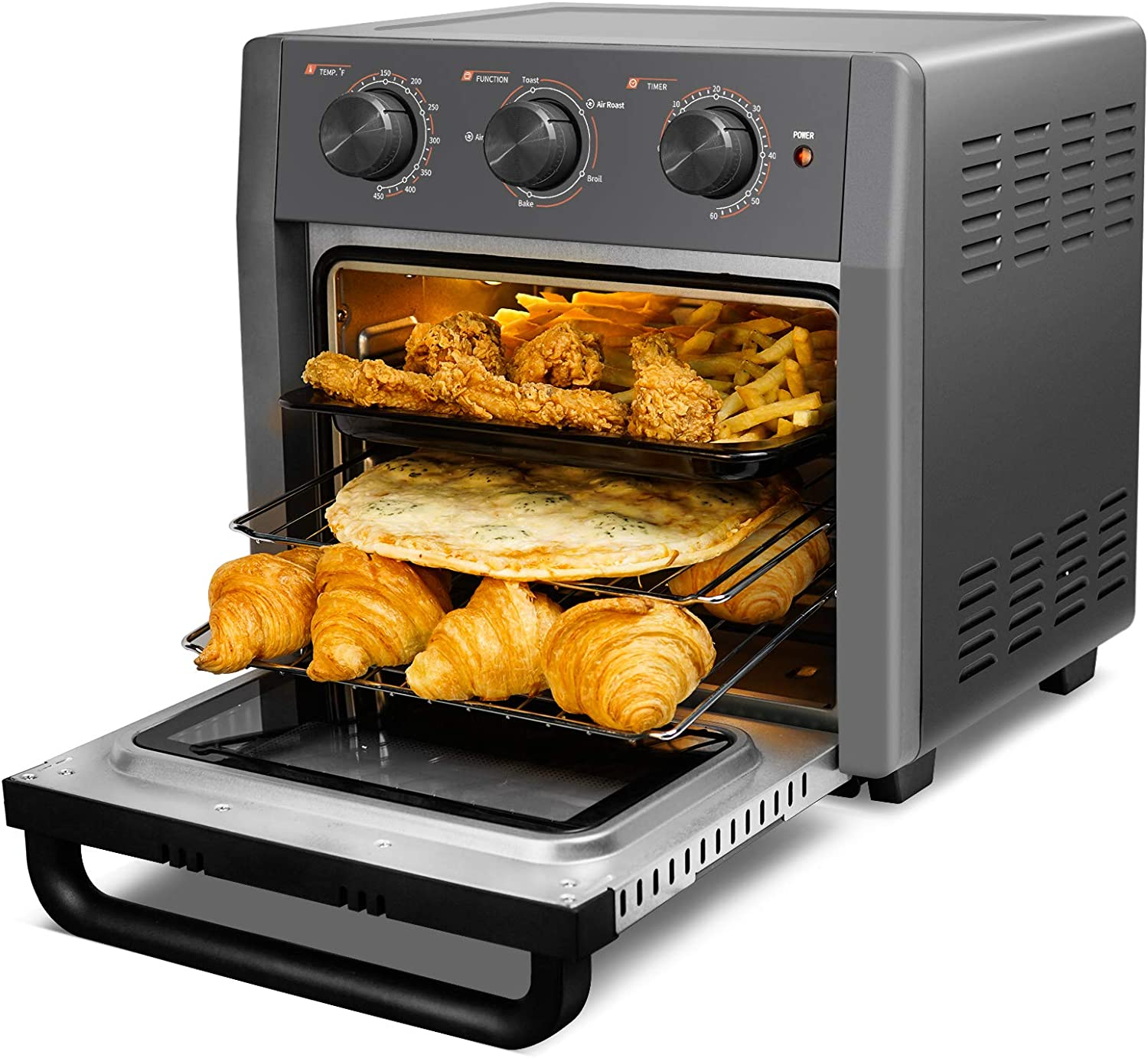 WEESTA 19 Quart Air Fryer Toaster Oven, 5-IN-1 Countertop Convection Oven with Air Fry Air Roast Toast Broil Bake Function for Fried Chicken, Steak, Fries, Tater Tots, Chips, Bacon, Pizza, etc.